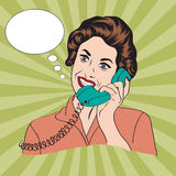 Popart comic retro woman talking by phone. Vector illustration Royalty Free Stock Image