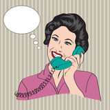 Popart comic retro woman talking by phone Royalty Free Stock Images