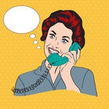 Popart comic retro woman talking by phone. Vector illustration Stock Photo
