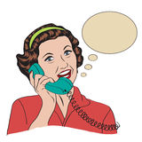 Popart comic retro woman talking by phone. Vector illustration Stock Images