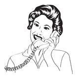 Popart comic retro woman talking by phone Royalty Free Stock Photos