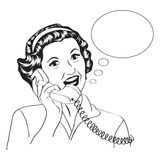 Popart comic retro woman talking by phone Stock Images