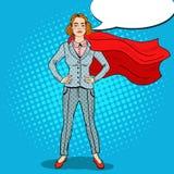 PopArt Confident Business Woman Super hjälte stock illustrationer