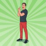 PopArt Confident Man Showing Gun gest med fingrar joyful grabb stock illustrationer