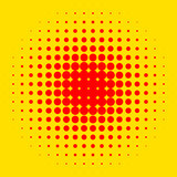Popart, halftone pattern, background. Yellow and red, duotone ba. Ckdrop  - Royalty free vector illustration Royalty Free Stock Images
