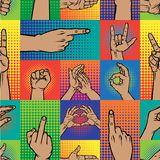 Popart hands fingers vector gesture human symbols hands different pop art handle pose signal illustration seamless. Pattern background Royalty Free Stock Photography