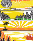 Popart landscape banners Stock Image