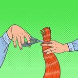 PopArt Male Hairdressers Hands Cutting hår med sax royaltyfri illustrationer