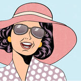 Popart retro woman with sun hat in comics style, summer illustra Royalty Free Stock Photography