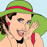 Popart retro woman with sun hat in comics style, summer illustra Royalty Free Stock Images