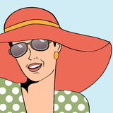 Popart retro woman with sun hat in comics style, summer illustra Royalty Free Stock Photos