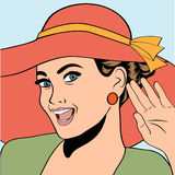 Popart retro woman with sun hat in comics style, summer illustra Stock Photos
