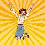 PopArt Successful Jumping Business Woman fira Royaltyfri Foto