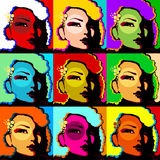 Popart woman face. Popart face of woman created by computer graphic Royalty Free Stock Images