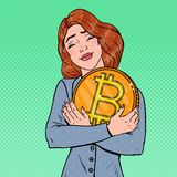 PopArt Young Business Woman Holding stort Bitcoin mynt Crypto valutanätverksteknologi