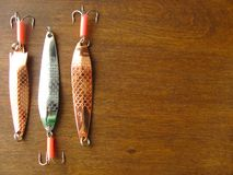 Popas dla łowić jest na drewnianym stole obrazy royalty free