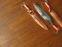 Popas dla łowić jest na drewnianym tle zdjęcie royalty free