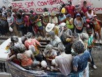 Popayà ¡ n, Colombia - 5 Januari 2014: Svartvit karneval r royaltyfri bild