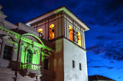 Popayan Clock Tower. The clock tower in Popayan, Colombia during the blue hour Royalty Free Stock Photography