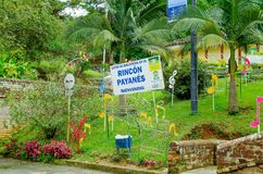 POPAYAN, COLOMBIA - FEBRUARY 06, 2018: Informative sign at the garden of El Rincon Payan, also called Patojo town, which Royalty Free Stock Photography