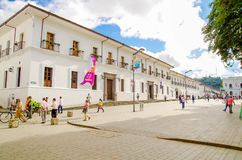 POPAYAN, COLOMBIA - FEBRUARY 06, 2018: Outdoor view of unidentified people walking in the streets of the town of Popayan Stock Images