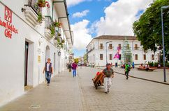POPAYAN, COLOMBIA - FEBRUARY 06, 2018: Outdoor view of unidentified people walking in the streets of the town of Popayan Stock Image