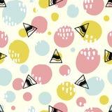 Popbakgrund med enkla geometriformer, cirklar och trianglar Rosa färg-, gräsplan- och blåttfärger royaltyfri illustrationer