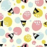 Popbakgrund med enkla geometriformer, cirklar och trianglar Rosa färg-, gräsplan- och blåttfärger stock illustrationer