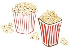 Popcorn, γρήγορο φαγητό, κινηματογράφος διανυσματική απεικόνιση