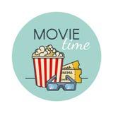 Popcorn κάδος, εισιτήριο ταινιών και τρισδιάστατα γυαλιά Πρόχειρο φαγητό κινηματογράφων Επίπεδο ύφος περιλήψεων Στοκ φωτογραφία με δικαίωμα ελεύθερης χρήσης