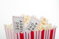 popcorn κινηματογράφων εισιτήρι Στοκ Φωτογραφία