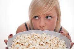 Popcorn κορίτσι Στοκ Εικόνες