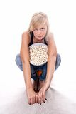 Popcorn κορίτσι Στοκ Φωτογραφίες