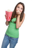 popcorn κοριτσιών Στοκ Φωτογραφίες