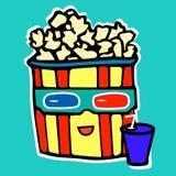 Popcorn πίνει την κόλα προσέχοντας έναν κινηματογράφο στο α Στοκ φωτογραφία με δικαίωμα ελεύθερης χρήσης