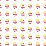 Popcorn στο κιβώτιο με το κόκκινο εικονίδιο λουρίδων διανυσματική απεικόνιση