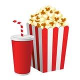 Popcorn στο κόκκινο και άσπρο φλυτζάνι εγγράφου κουτιών από χαρτόνι και σόδας διανυσματική απεικόνιση