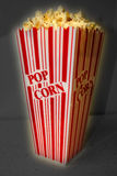 Popcorn. Bucket of Hot Fresh Buttered Movie Theater Popcorn Stock Image
