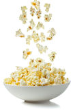 Popcorn. Falling in a bowl Royalty Free Stock Images
