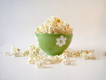 Popcorn 3. Popcorn in a green bowl royalty free stock photos