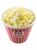 Popcorn. Bucket of popcorn isolated on a white background royalty free stock image