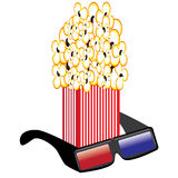 Popcorn and 3D Glasses. Illustrations on white background for design Royalty Free Stock Photos