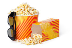 Popcorn and 3d glasses Royalty Free Stock Images