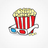 Popcorn and 3d glasses. Cinema concept background Royalty Free Stock Image