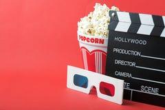 Popcorn, 3D glazen & clapperboard Royalty-vrije Stock Foto