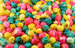 Popcorn. Many colored popcorn filled the background stock photo