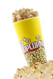 Popcorn. Grains of corn are isolated on a white background stock photos