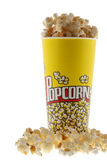 Popcorn. Grains of corn are isolated on a white background stock images