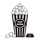 Popcorn and admit one cinema ticket. Illustration of popcorn with admit one cinema ticket Stock Photos