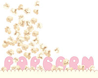 Popcorn advert. An illustration of delicious fresh popcorn tumbling into a carton with pink letters spelling the word popcorn on a white background Royalty Free Stock Photo